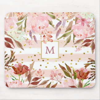 Watercolor Stripes and Floral with Gold Dots Mouse Pad