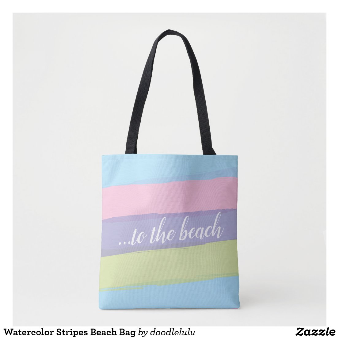 Watercolor Stripes Beach Bag
