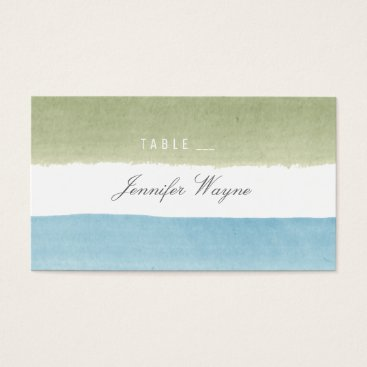 Beach Themed Watercolor stripes beach wedding place cards