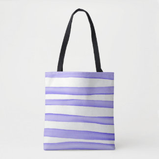 Watercolor stripes blue on white tote bag
