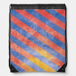 Watercolor Stripes Drawstring Backpack Design