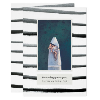 Watercolor Stripes Holiday Photo Card
