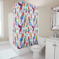 Watercolor Style Parrots Shower Curtain