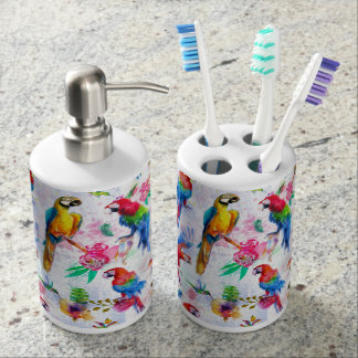 Watercolor Style Parrots Soap Dispenser And Toothbrush Holder