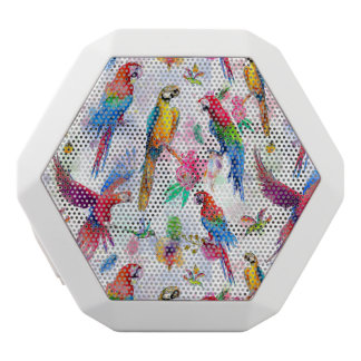 Watercolor Style Parrots White Bluetooth Speaker