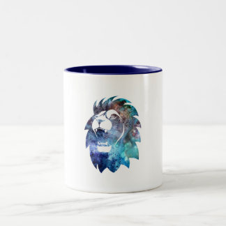 Watercolor Style Roaring Lion Head Two-Tone Coffee Mug
