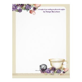 Watercolor style teacup flowers tea ball purple letterhead