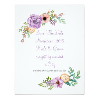 Watercolor Succulent Botanical Save The Date Card