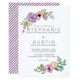 Watercolor Succulent Botanical Wedding Invitation