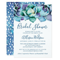 Watercolor Succulent Bridal Shower Card