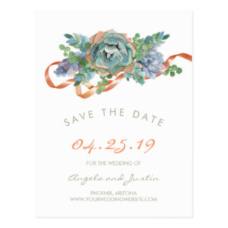 Watercolor Succulent Cluster Save the Date 2 Postcard