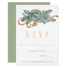Watercolor Succulent Cluster Wedding Rsvp 2 Card at Zazzle
