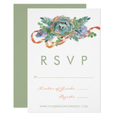 Watercolor Succulent Cluster Wedding Rsvp Card at Zazzle