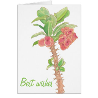 Watercolor Succulent Crown of Thorns Best Wishes Stationery Note Card