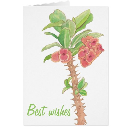 Watercolor Succulent Crown of Thorns Best Wishes Card
