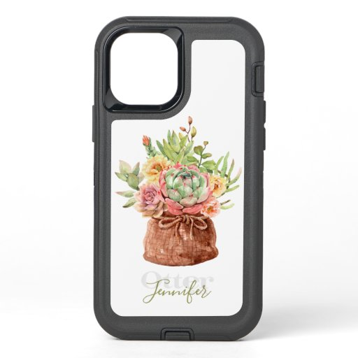 Watercolor Succulent Floral Botanical Personalized OtterBox Defender iPhone 12 Case