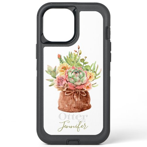 Watercolor Succulent Floral Botanical Personalized OtterBox Defender iPhone 12 Pro Max Case