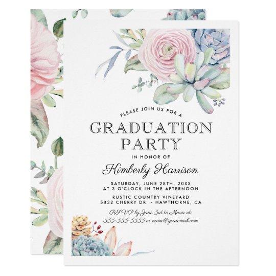 Watercolor succulent floral graduation party invitation zazzle watercolor succulent floral graduation party invitation filmwisefo