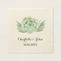 watercolor succulent floral wedding napkin