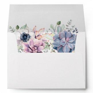 Watercolor Succulent Florals 5 x 7 Return Address Envelope