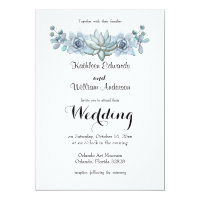 Watercolor Succulent & Flower Wedding Invitation