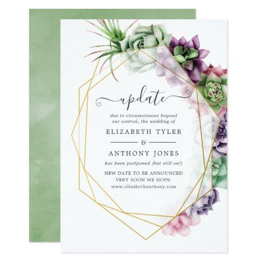 Watercolor Succulent Geometric Wedding Update Invitation