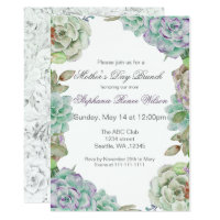 Watercolor Succulent Mother's Day Brunch Invites
