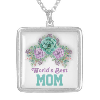 Watercolor Succulent Mother's Day Necklace