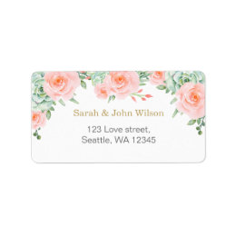 watercolor succulent peach roses address label