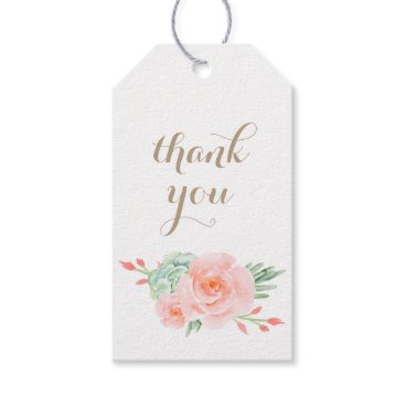 watercolor succulent peach roses Gift Tag