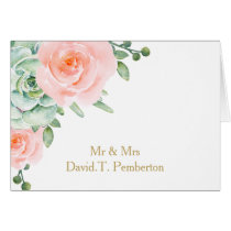 watercolor succulent peach roses Place Cards