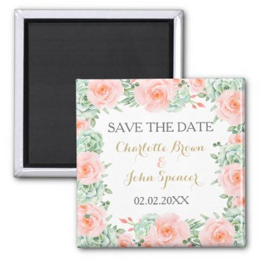 watercolor succulent peach roses save the Date Magnet