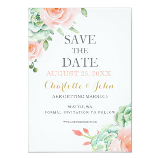 watercolor succulent peach roses save the dates card