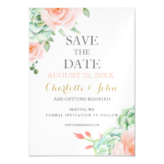 watercolor succulent peach roses save the dates magnetic card