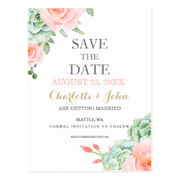 watercolor succulent peach roses save the dates postcard