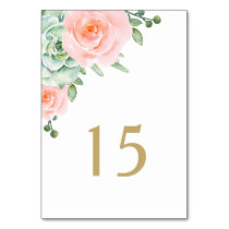 watercolor succulent peach roses table number card