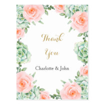 watercolor succulent peach roses Thank You notes