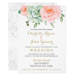 Succulent And Peach Roses Wedding Invitations