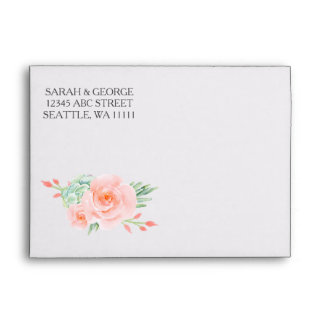 watercolor succulent peach roses wedding envelope