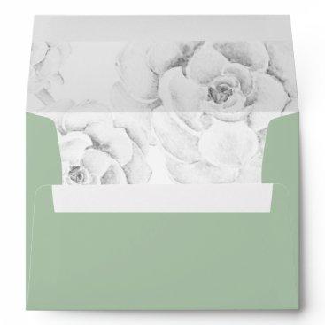 watercolor succulent peach roses wedding envelope