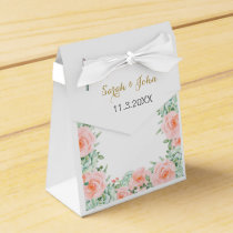 watercolor succulent peach roses wedding favor box