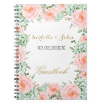 watercolor succulent peach roses wedding Guestbook Notebook