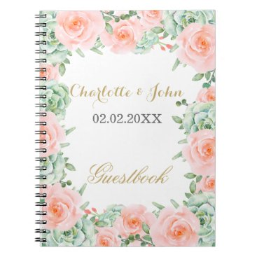 watercolor succulent peach roses wedding Guestbook Spiral Notebook