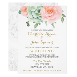 watercolor succulent peach roses wedding invitation