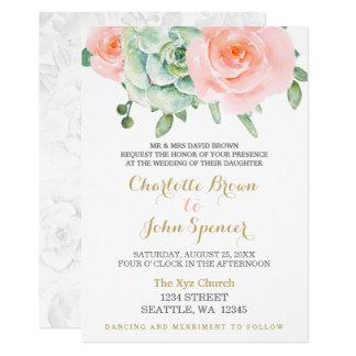 watercolor succulent peach roses wedding invites