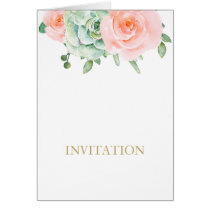 watercolor succulent peach roses wedding invites card