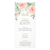 watercolor succulent peach roses wedding menu