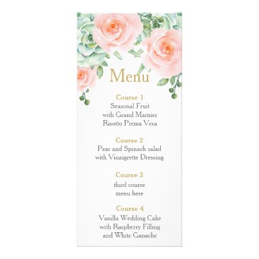 watercolor succulent peach roses wedding menu