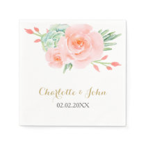 watercolor succulent peach roses wedding napkin