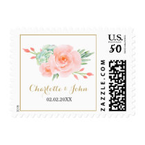 watercolor succulent peach roses wedding postage